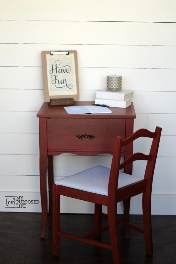 repurposed sewing cabinet red vanity or writing table MyRepurposedLife.com