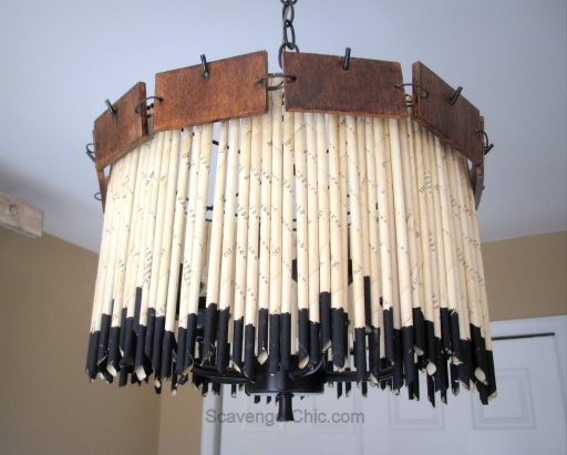Recycled Book Pages Chandelier