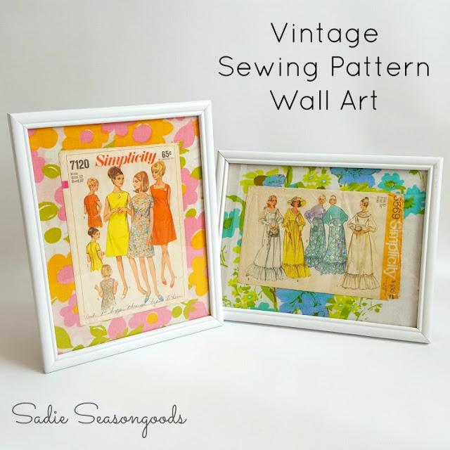 vintage sewing pattern wall art