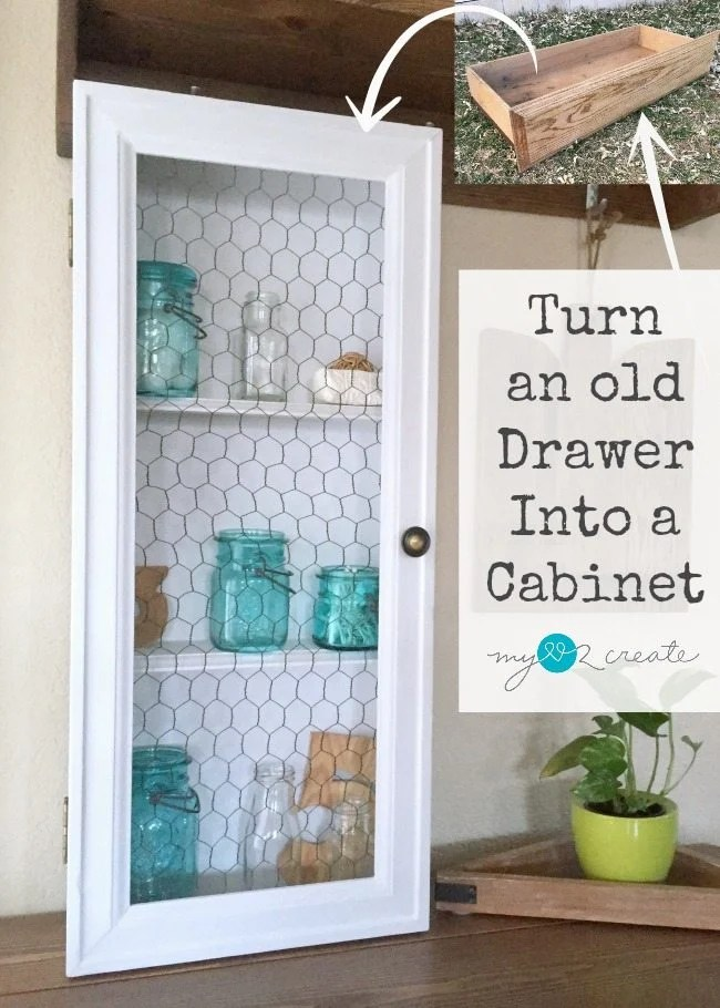 Turn an old drawer into a cabinet MyLove2Create for MyRepurposedLife.com