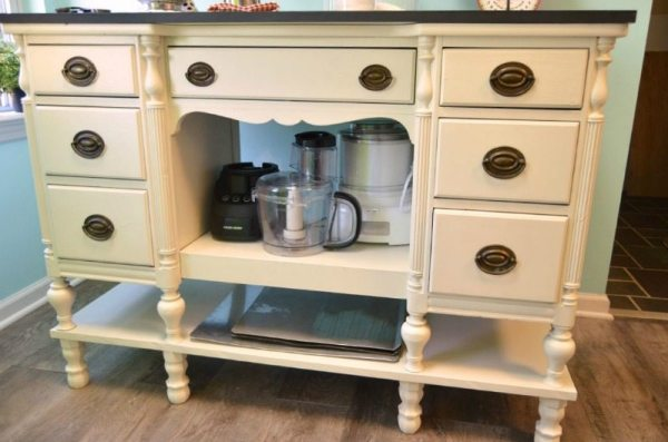 kitchen island made from an old desk