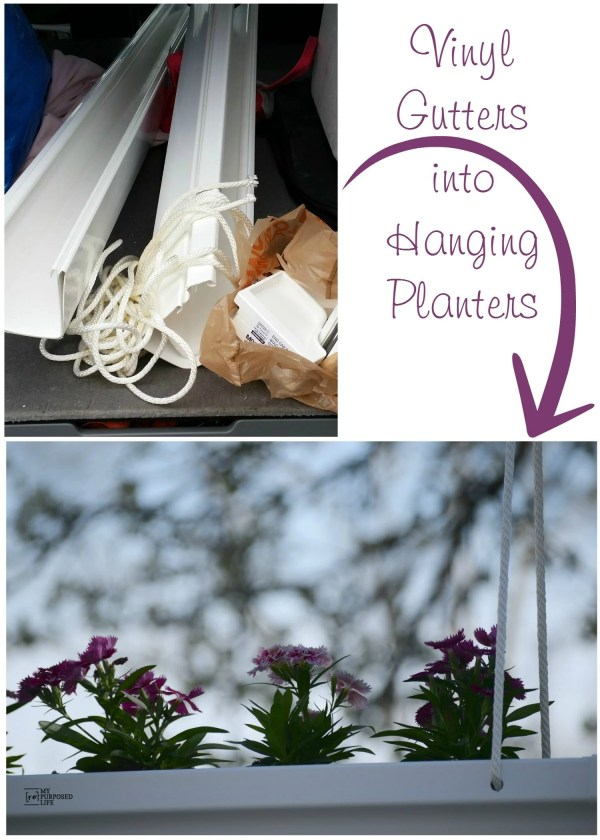 Hanging Gutter Planters Easy DIY Project MyRepurposedLife.com