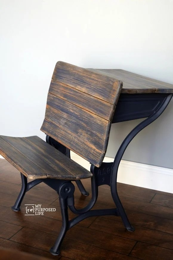 blue antique school desk makeover MyRepurposedLife.com