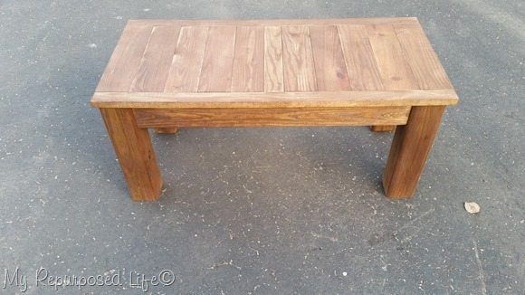 dark stained outdoor coffee table