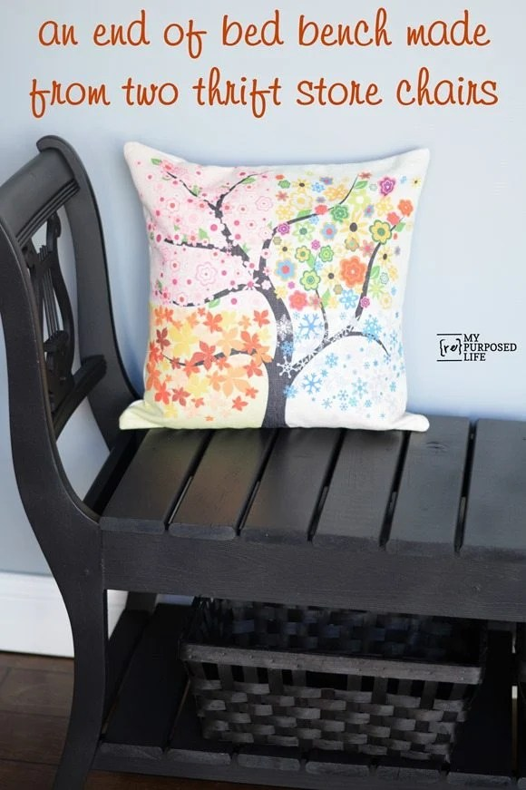 double chair-end of bed bench MyRepurposedLife.com