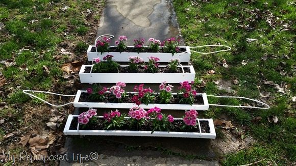 hanging gutter flower planters