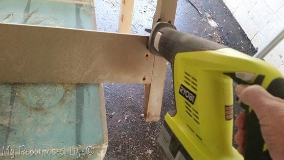 reciprocating saw cuts headboard