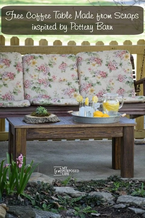 rustic coffee table inspired by pottery barn MyRepurposedLife.com