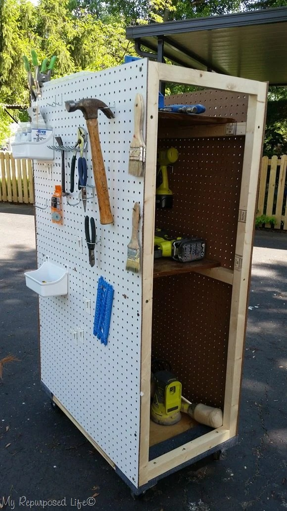 portable tool storage peg board rolling cart