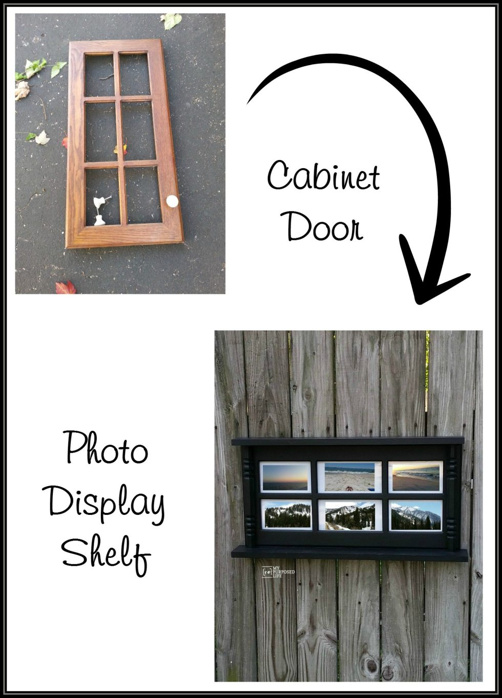 how to make a photo display wall shelf out of an old glass cabinet door and some small chair spindles. Add two small shelves, and voila! you're done! #MyRepurposedLife #glass #door #photo #display #shelf via @repurposedlife