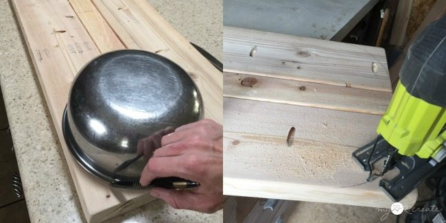 rounding bench top edges with a bowl and jigsaw