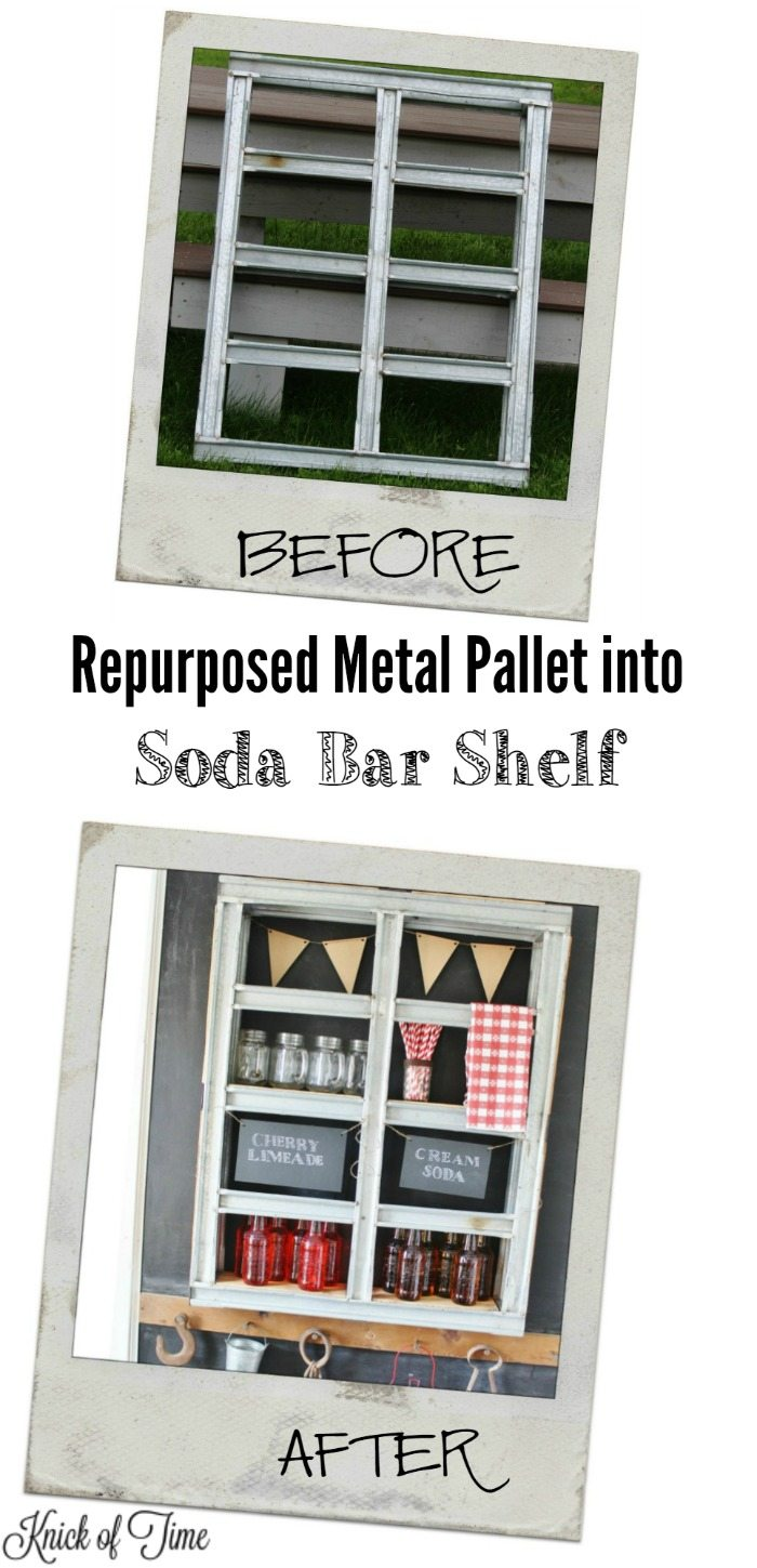 How to turn a metal pallet into a hanging soda bar - KnickofTime.net