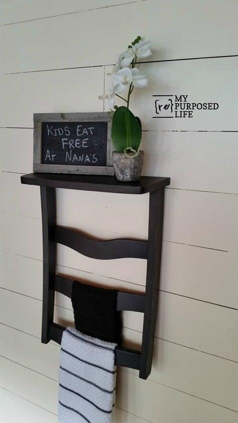 black chair back towel rack for the kitchen MyRepurposedLife.com