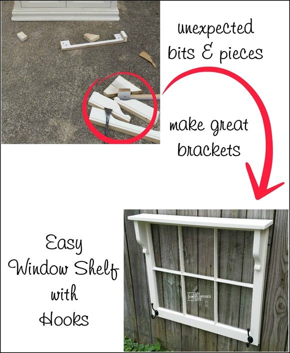 How to make an easy window shelf with hooks out of unexpected bits & pieces. Step by step instructions so you can make this a quick weekend project. #MyRepurposedLife #repurposed #window #hookrack #coatrack via @repurposedlife