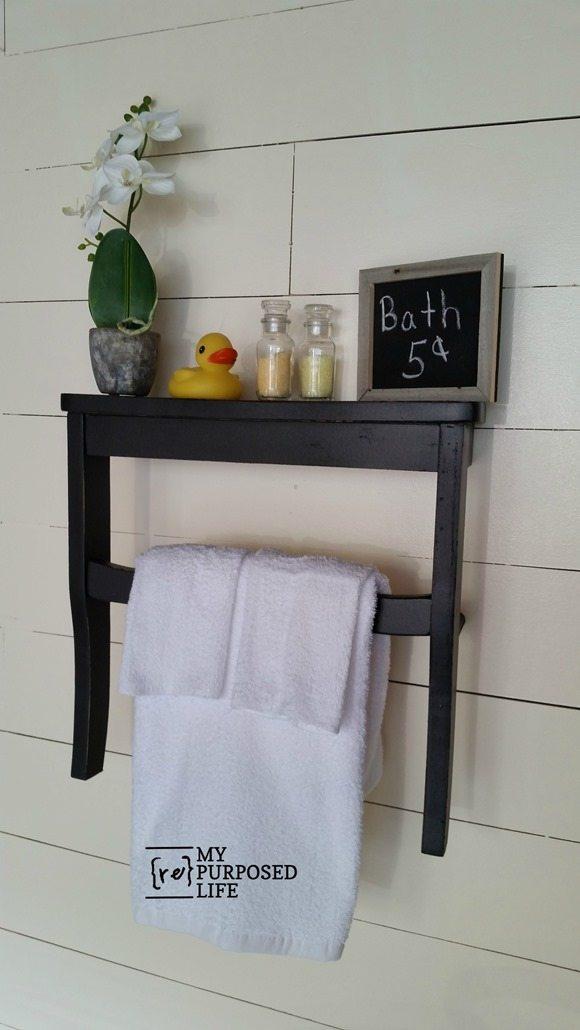 guest bath wall shelf repurposed chair seat MyRepurposedLife.com