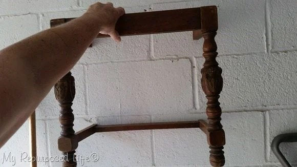 making a wall shelf from an old chair