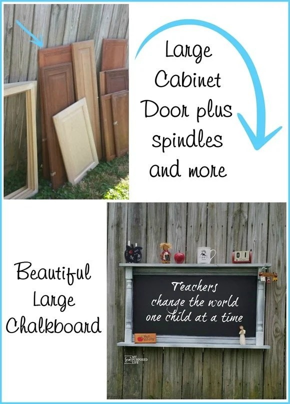 How to make a large chalkboard shelf using an old cabinet door, some thrift store spindles and scrap wood. Step by step tutorial for you to make one too! #MyRepurposedLife #repurposed #cabinetdoor #chalkboard via @repurposedlife