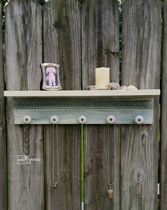 scrap wood jewelry shelf MyRepurposedLife.com