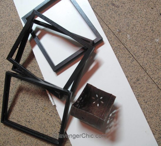 DIY Lantern from scrap wood and frames-001