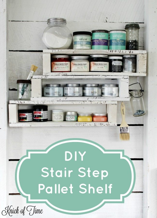 DIY pallet shelf for craft room or workshop storage