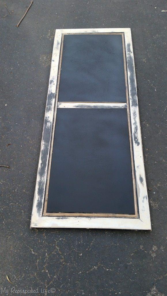 chalkboard easel repurposed coffee table