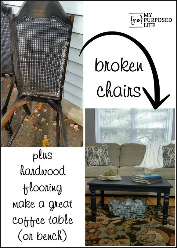 how to make a coffee table or bench out of old chairs and hardwood flooring MyRepurposedLife.com
