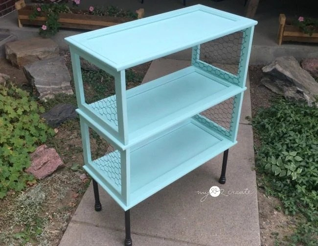 empty repurposed cupboard bookshelf