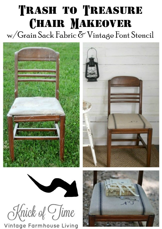 Grain sack stenciled chair by Knick of Time