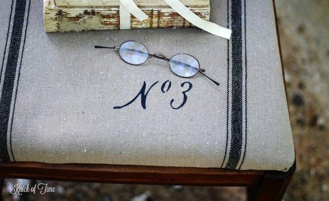vintage font stencil grainsack fabric chair