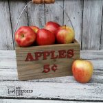 Apple Caddy | reclaimed wood and a bucket handle