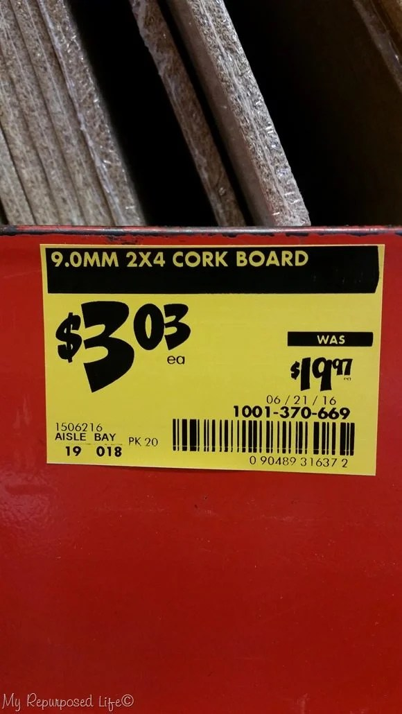 corkboard on clearance at home depot