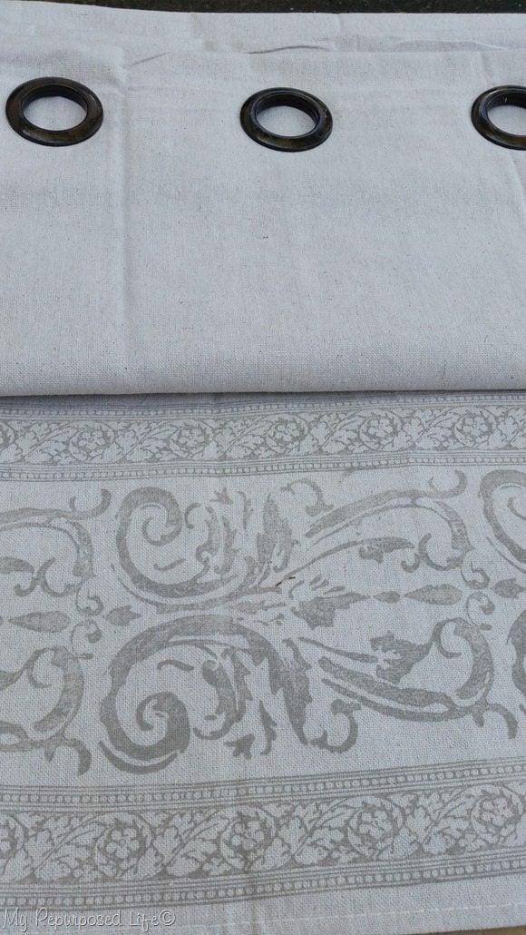 diy stamped drop cloth grommet curtain panel