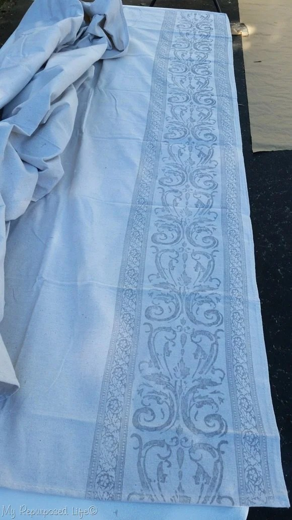 drop cloth curtain heirloom traditions paint and IOD roller stamps
