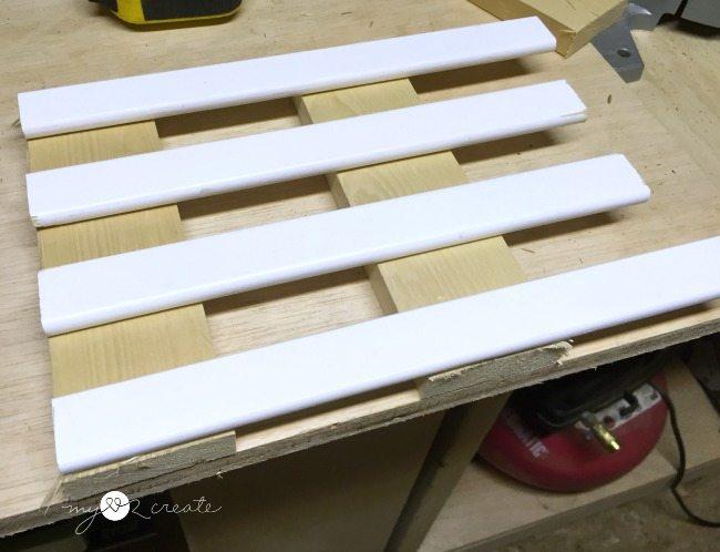 dry fitting crib slats to make trivets