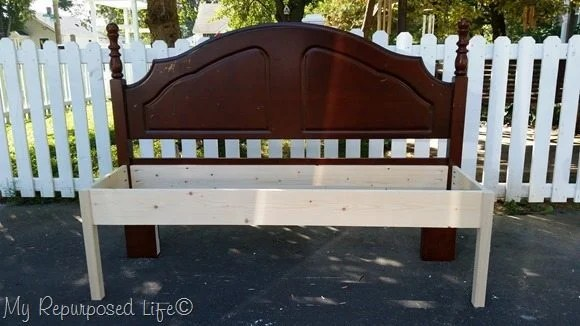 how to frame a double bed headboard bench