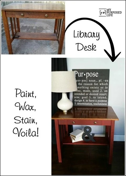 library desk makeover with paint-wax-stain-voila-MyRepurposedLife.com