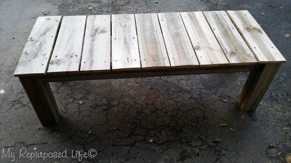 outdoor reclaimed wood coffee table or bench