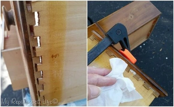 repair dove tail joint with wood glue and clamp