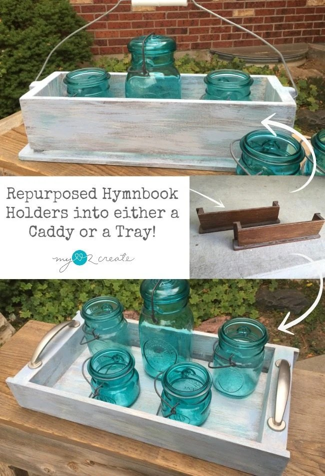 repurposed hymnbook holders into a caddy and a tray