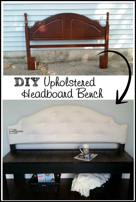 before after upholstered headboard bench MyRepurposedLife.com