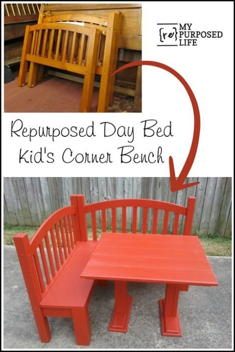 day bed repurposed into a diy kids table and corner bench MyRepurposedLife #easy #kids #table #playroom