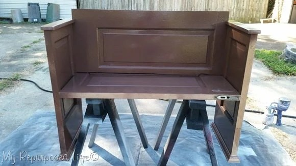 paint sprayer bench on sawhorses