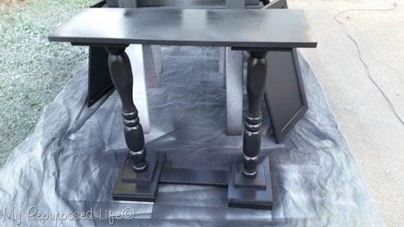 painting double pedestal sofa table black