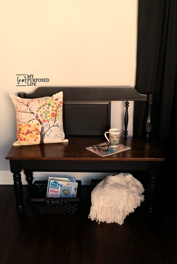 simple black headboard bench tutorial MyRepurposedLife.com