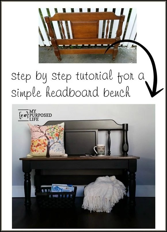 step by step tutorial for a simple headboard bench MyRepurposedLife.com