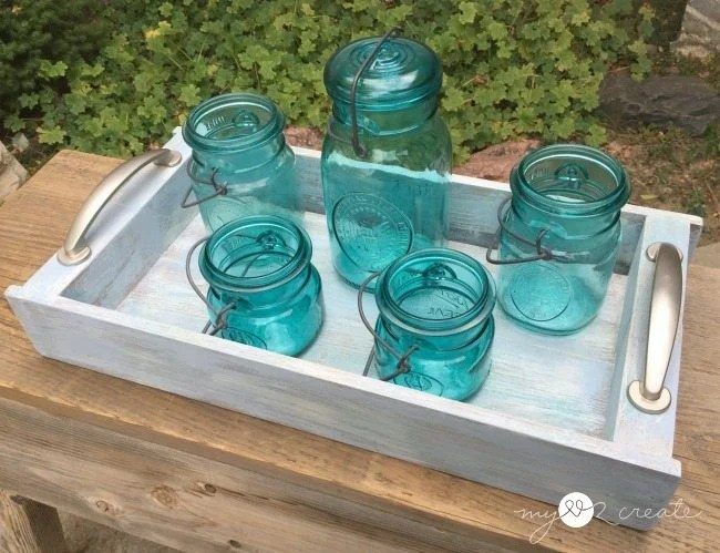tray with mason jars