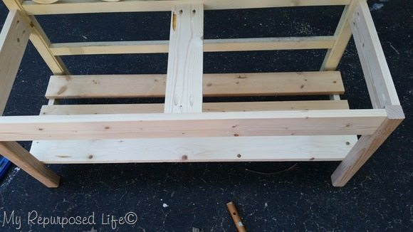 twin bench bottom shelf