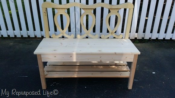 twin headboard bench with bottom shelf