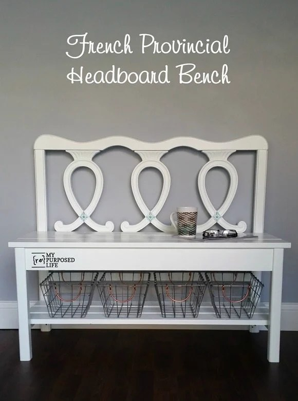 white french provincial headboard bench with wire baskets MyRepurposedLife.com