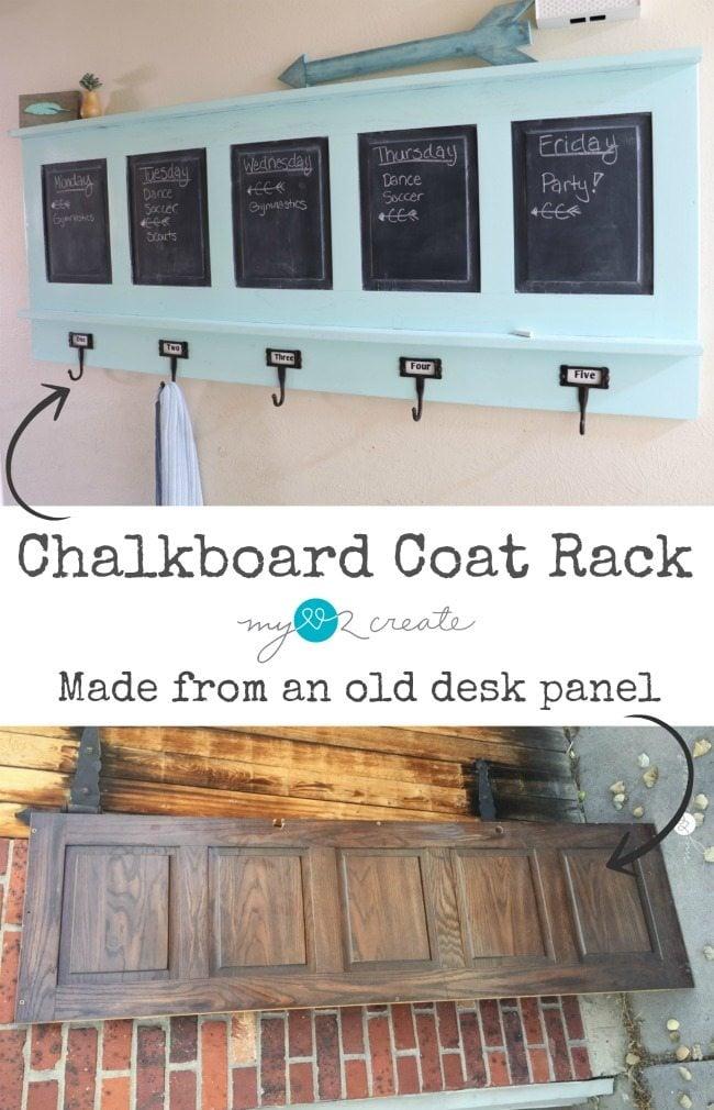 Chalkboard Coat Rack, repurposed from desk panel